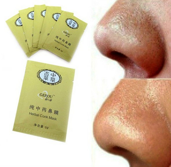 Free shipping !!! Herbal Deep Cleansing Nose face Pores Blackhead Remove cleaner Strip Mineral Mud Beauty mask 100pcs