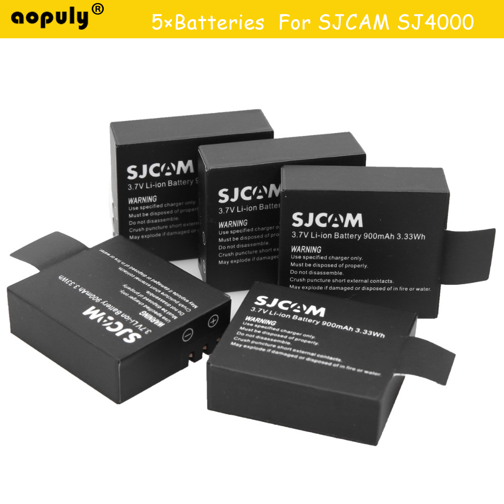 5Pcs Hot Sale 3.7V 900mAh Sj4000 Battery Rechargeable Li-ion Spare Batteries Sports Action Camera Accessories For Sj4000(China (Mainland))