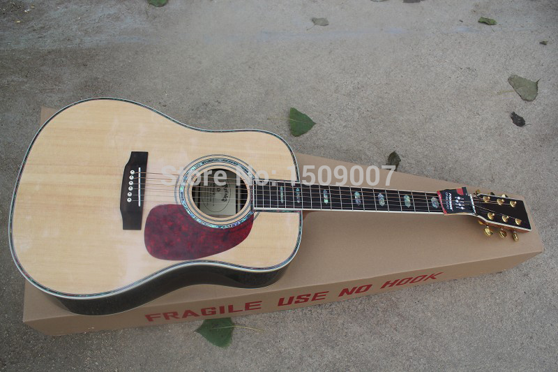 Classic Dreadnought acoustic electric guitar, Chinese Sapeli Celluloid binding guitar with fishman 101 / 301(China (Mainland))