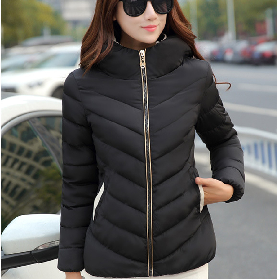 Women Ladies Winter Fashion Solid Zipper Pockets Standard Full Stand collar clothes Slim Warm Short  Clothes Tops NewОдежда и ак�е��уары<br><br><br>Aliexpress