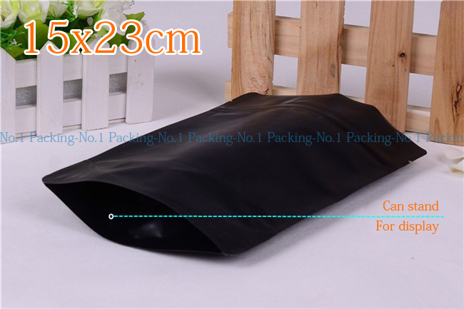 20pieces/lot 15x23cm whole sale matte black bottom gusset herbal bag aluminum foil mylar pouch ziplock bag(China (Mainland))
