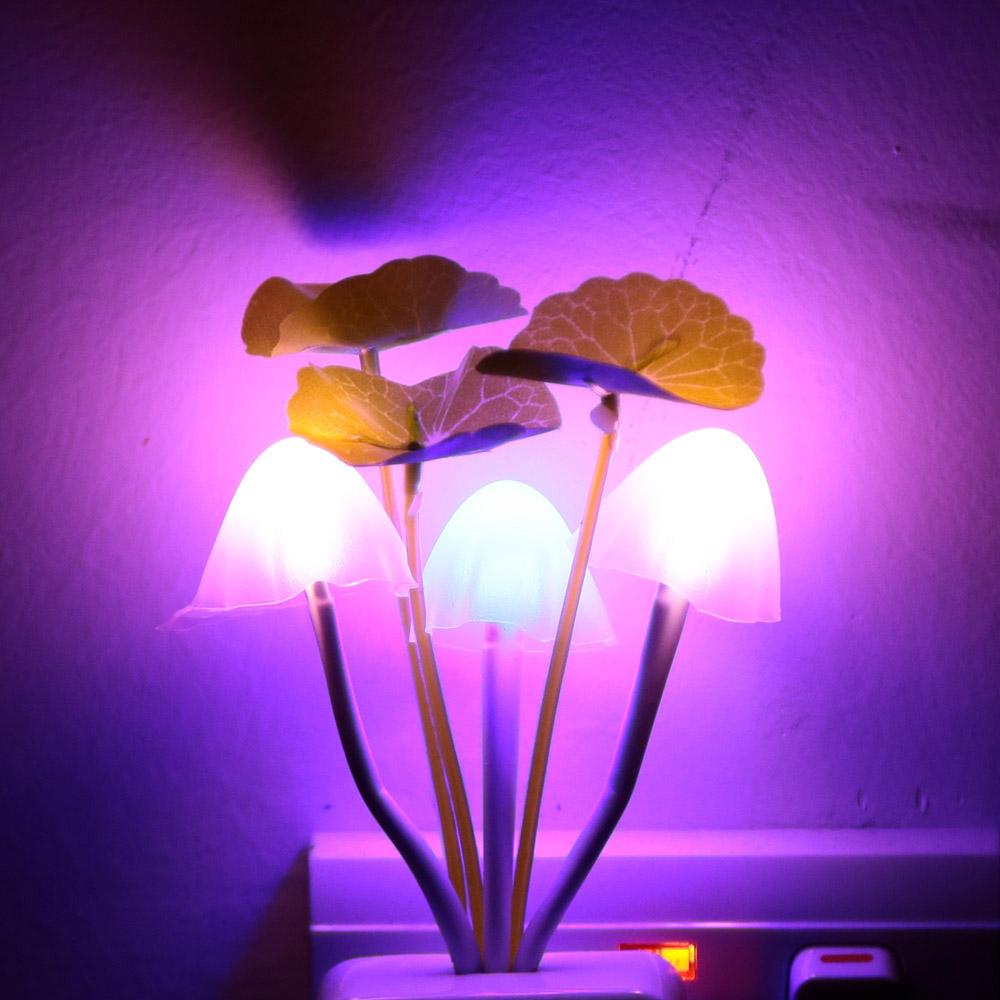 Square/Vase Head Plug Electric Light Sensor Dream Mushroom Fungus Lamp LED Lamp 220V 3 LEDs Mushroom Lamp Led Night Lights(China (Mainland))