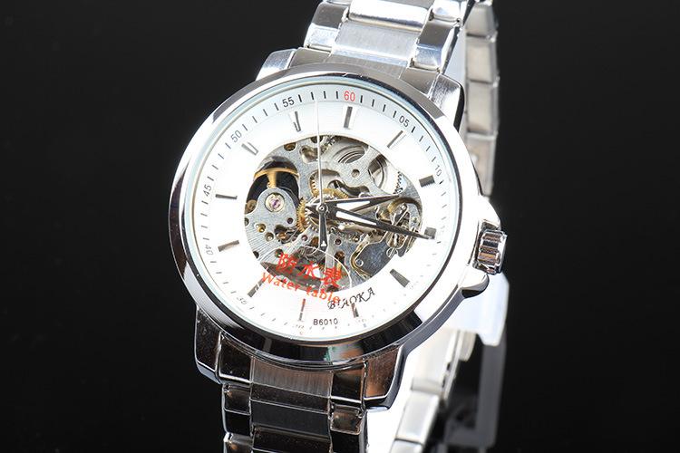 Бренд мужской BIAOKA часы 100 м водонепроницаемый механические часы Кожа наручные часы 2016 роскошный бизнес часы скелет reloj hombre