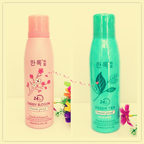 Cherry Blossom/Green Tea Sweat-proof Fragrant Body Spray Deodorant Spray Dry Armpit Reduce Odor Antiperspirant 150ml J4028/29(China (Mainland))