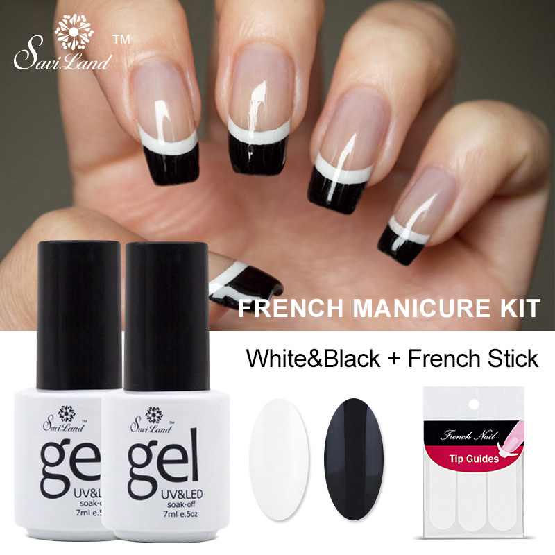 Saviland 2pcs French Manicure Set Nail Art Black White UV Gel Nail Polish Free Tip Guides Soak Off French Gel Polish(China (Mainland))