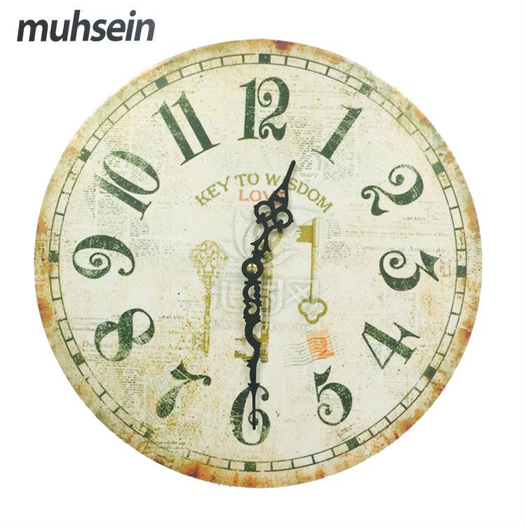 Muhsein Best Deal New European Style Vintage Creative Round Wood Wall Clock Quartz Bracket Clock Unique Gift()