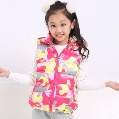 autumn winter children's clothing han edition fashion girls hooded thick camouflage quilted vest - Fashion online zone store