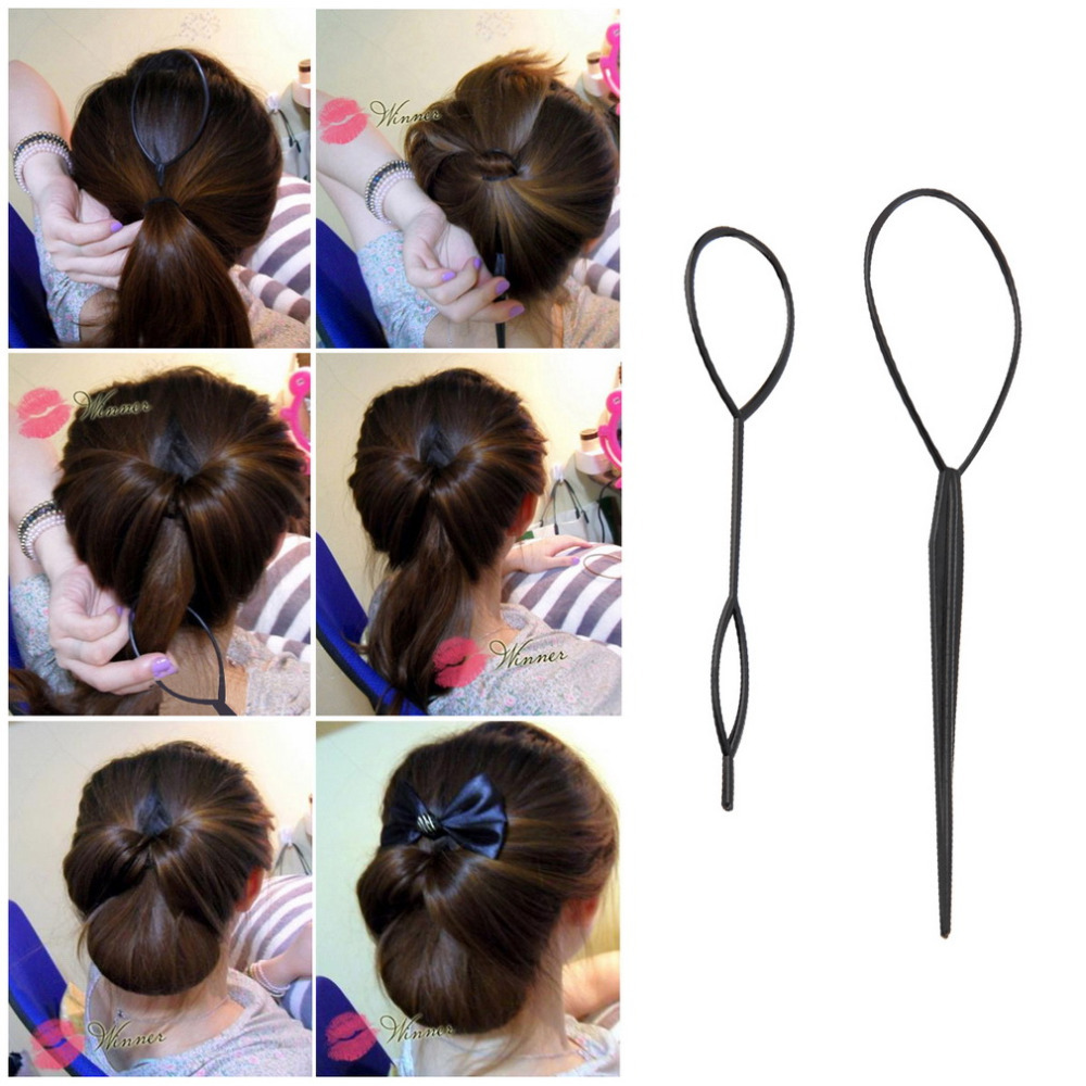 2 pcs Ponytail Creator Plastic Loop Styling Tools Black Topsy Pony topsy Tail Clip Hair Braid Maker Styling Tool Fashion Salon(China (Mainland))