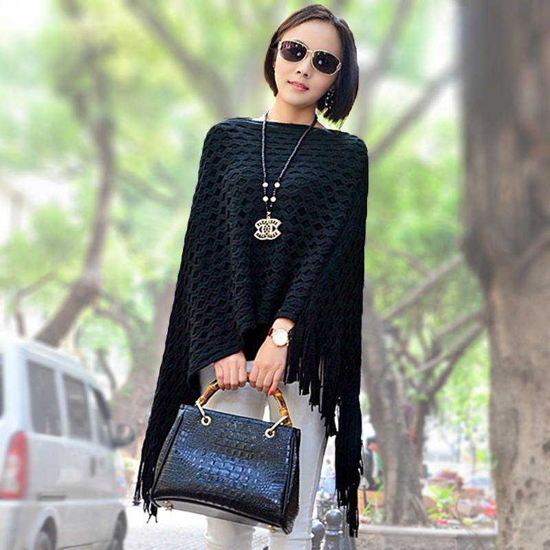 Women Cape Fashion Poncho tassel autumn loose Sweaters Batwing Knitted Tassels Hem Pullover irregularity Cloak Tops