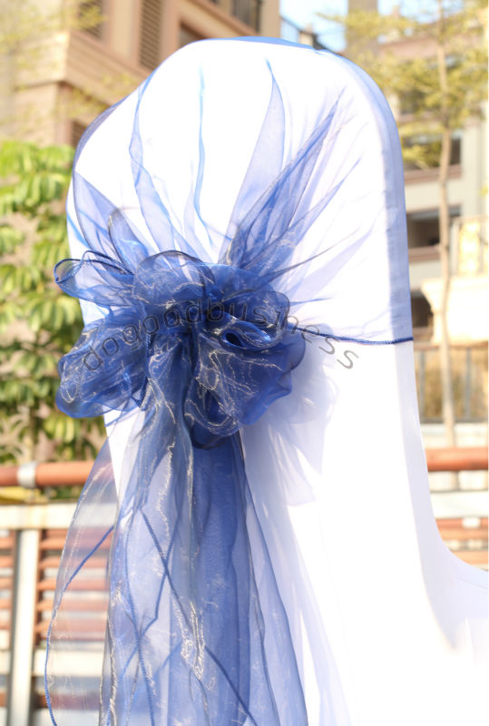 party decoration navy blue color 50pcs/bag wedding chair sash( 65cm*275cm) organza fabric chair hood decoration bodas(China (Mainland))