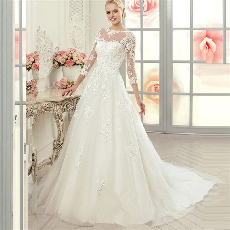 2015 vintage 3 4 sleeve princess lace ball gown wedding