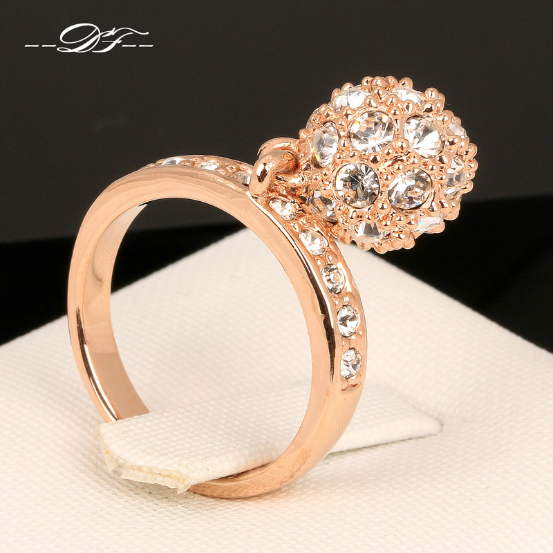 Hot Sale CZ Diamond Ball Party Finger Rings 18K Rose Gold Plated Fashion Brand Punk Jewellery/Jewelry For Women Wholesale DFR024(China (Mainland))