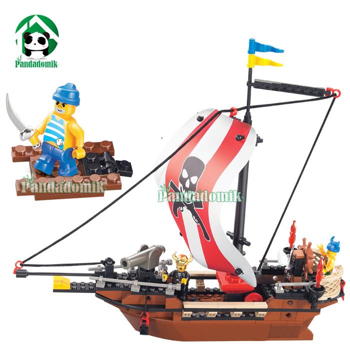 Original box 22DIY Building Blocks Compatible Bricks Caribbean Pirate Ship Educational Toys Gift - Pandadomik store