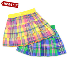 Meney's SD-004 Plaid Skirt Girl 2016 100% Cotton Baby Girls Clothes Double Layer A-Line Skirts for Kids Bow Children Pettiskirt(China (Mainland))