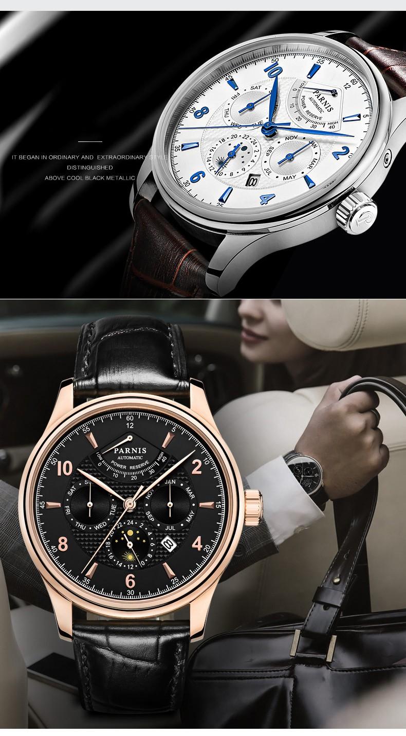 Парнис Пилот III Seriers Светящиеся Мужские Кожаный Ремешок Моды Автоматические Механические Часы Наручные Часы