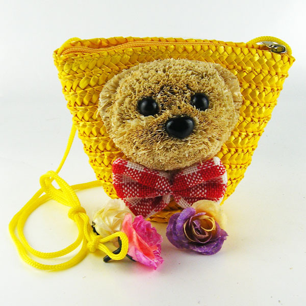 New brand teddy bears straw bags lovely beach girl messenger bags fresh bow directed women bags(China (Mainland))