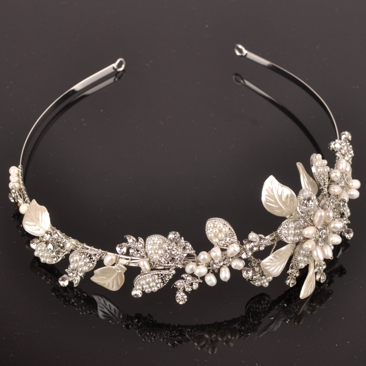 Handmade Wedding Tiara Headband Crystal Pearl Flower Head Piece Bride Vintage Bridal Headpieces Hair Jewelry AccessoriesWIGO0266<br><br>Aliexpress