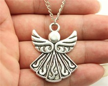 Buy WYSIWYG 2 colors antique bronze, antique silver tone angel pendant necklace, 70cm chain long necklace for $1.15 in AliExpress store