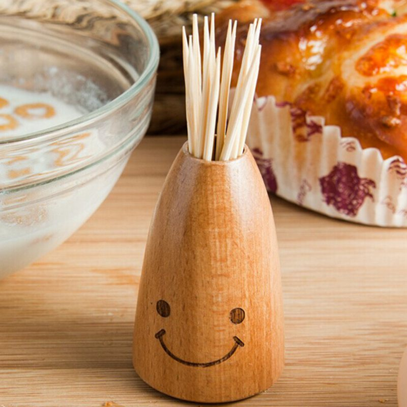 Fashion Wooden Creative Smiley Face Home Dining Table Decor Toothpick Cotton Swab Holder Storage Box Pick Toothpick Holder(China (Mainland))