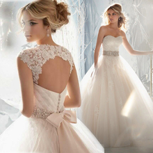 In Stock Removable Lace Cap Sleeves Applique With Beading Sash Wedding Dress Ball Gowns Lace Up Back Light Champagne Sash Bridal(China (Mainland))