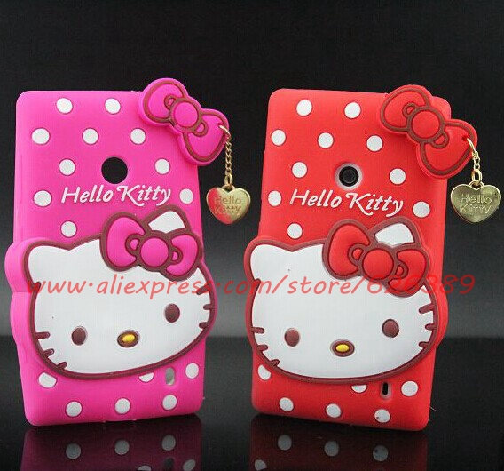 For Nokia Lumia 520 N520 Polka Dot Hello Kitty Character Silicone Soft Cell Phone Back Case Cover(China (Mainland))