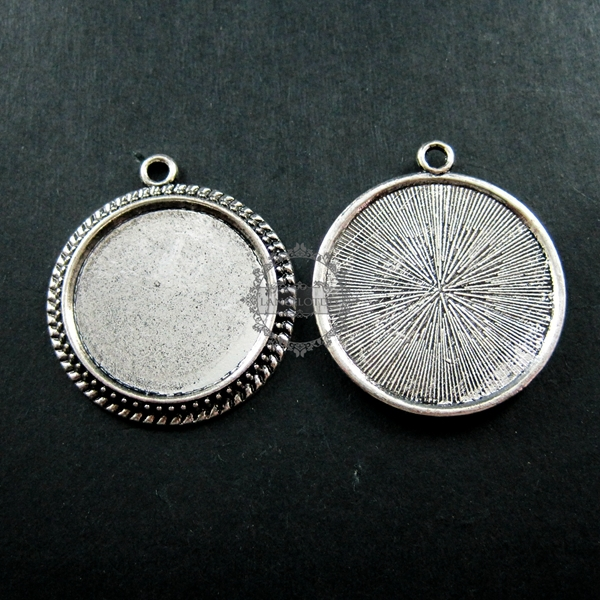25mm vintage style antiqued silver round pendant base tray settings for cabochon DIY jewelry supplies 1411089(China (Mainland))