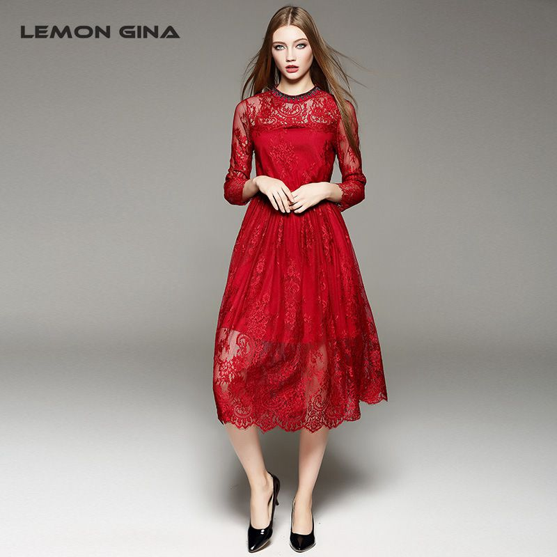 Lemon Gina New Arrival High Elegant Hollow Out Tunic Dress Makings Women Slim Lace Pleated O-Neck Dresses Black & Red(China (Mainland))