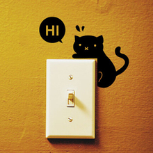 Drop Shipping Cute Animal Black Hi Cat Switch Stickers Wall Stickers Home Decoration Bedroom Parlor Decoration(China (Mainland))