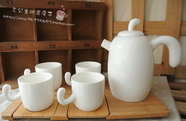 Brief white porcelain tea set coffee set