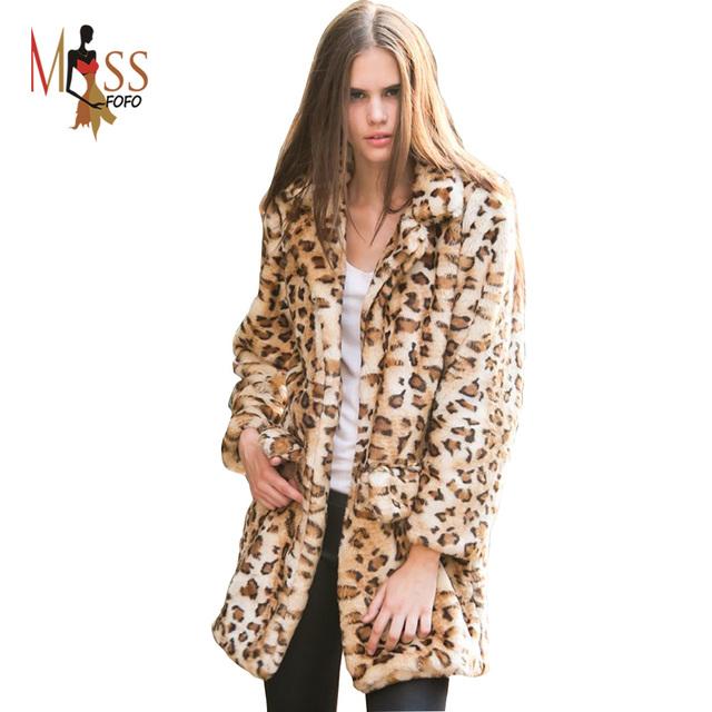 2016 зима высокое мода женская роскошный леопард искусственного меха светская толстый ...