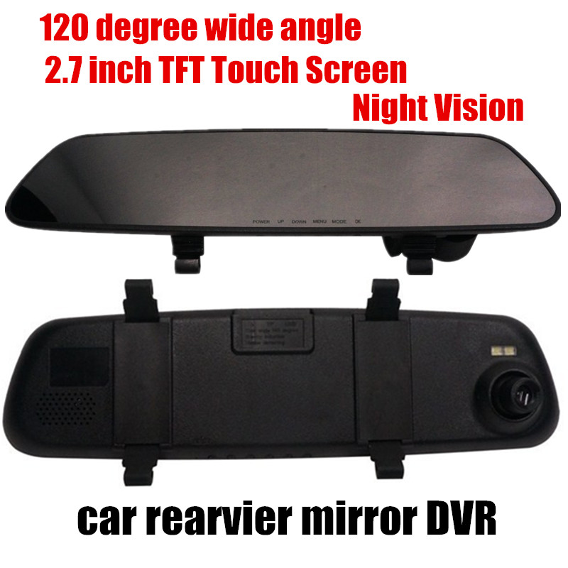 best selling 120 degree wide angle 2.7inch TFT Car Rearview Mirror DVR Video Recorder Free Shipping(China (Mainland))