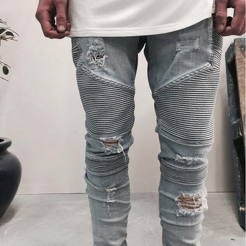2016 hip-hop Men Jeans masculinaCasual Denim distressed Men's Slim Jeans pants Brand Biker jeans skinny rock ripped jeans homme(China (Mainland))
