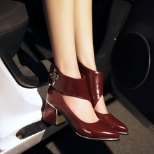 2016Spring/Summer High heels Shoes Woman Ladies Sexy Pointed Toe Buckle Wedding Shoes Platform Women Pumps Fashion Women Sandals(China (Mainland))