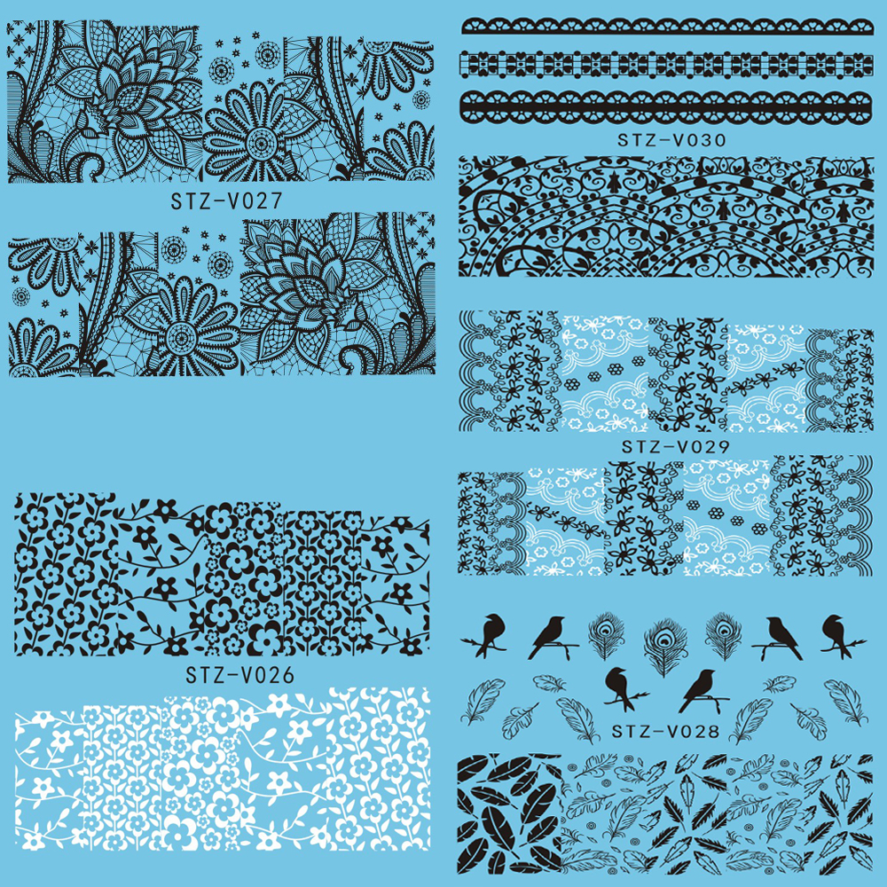 1 sheet White/Black Nail Art Flowers Lace Water Transfer Stickers Watermark Decals Nail Foil Wraps DIY Beauty Tools STZV026-030(China (Mainland))