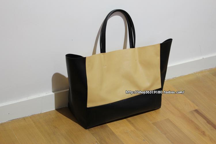 Exclusive design models/nude black stitching wide horizontal version shopping bag shopping bag(China (Mainland))