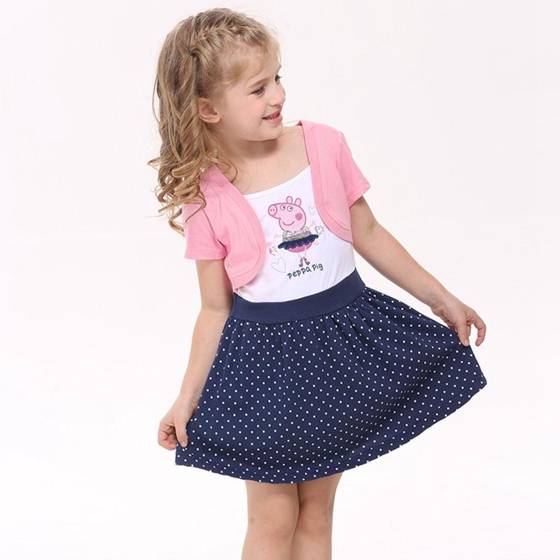 girls clothes girls dresses summer 2016 girl dress princess dress for girls cartoon peppa embroidery nova kids clothing H4371(China (Mainland))