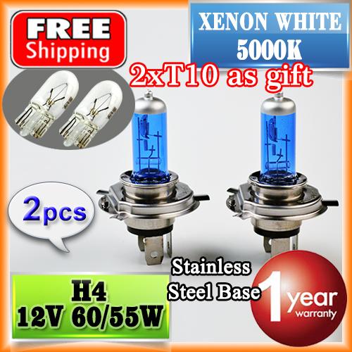 2 PCS 12V 60/55W H4 Halogen Lamp (T10 as Gift) 5000K Car Halogen Bulb Xenon Dark Blue Glass Super White FREE SHIPPING(China (Mainland))