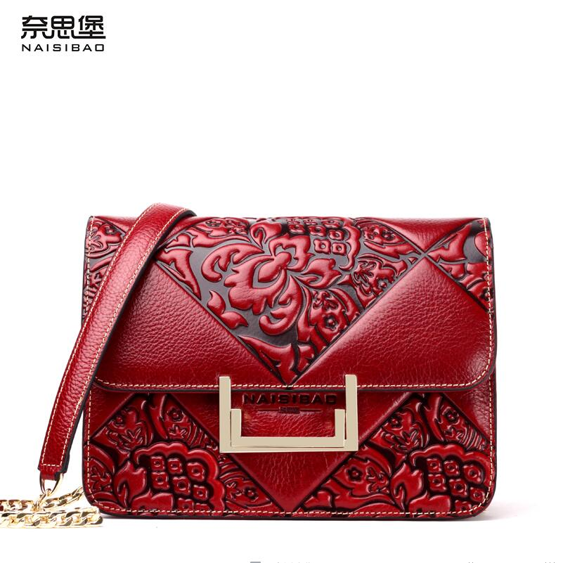 Famous brand top quality Genuine Leather women bag 2016 new original Chinese style messenger bag Small square package Chain pack(China (Mainland))