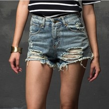 Fashion 2015 Summer Women New High Waist Denim Shorts Frayed Hole Female Super Cool Flash Shorts Free Shipping  XS-XL