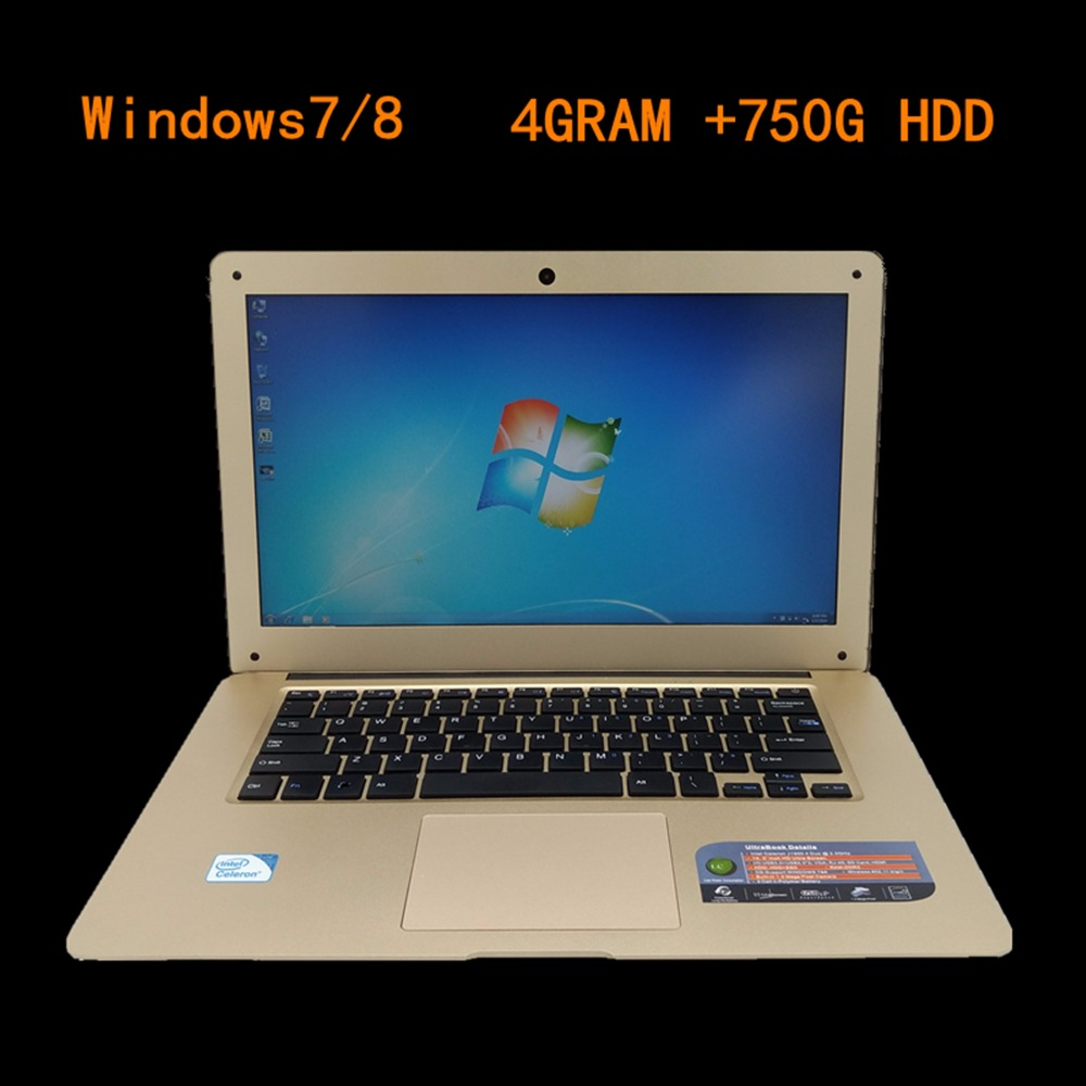 14 inch Gaming laptop notebook Windows8/7 Intel J1900 Quad Core 2.0GHz 4GB DDR3 750GB HDD Webcam slim netbook PC computer(China (Mainland))