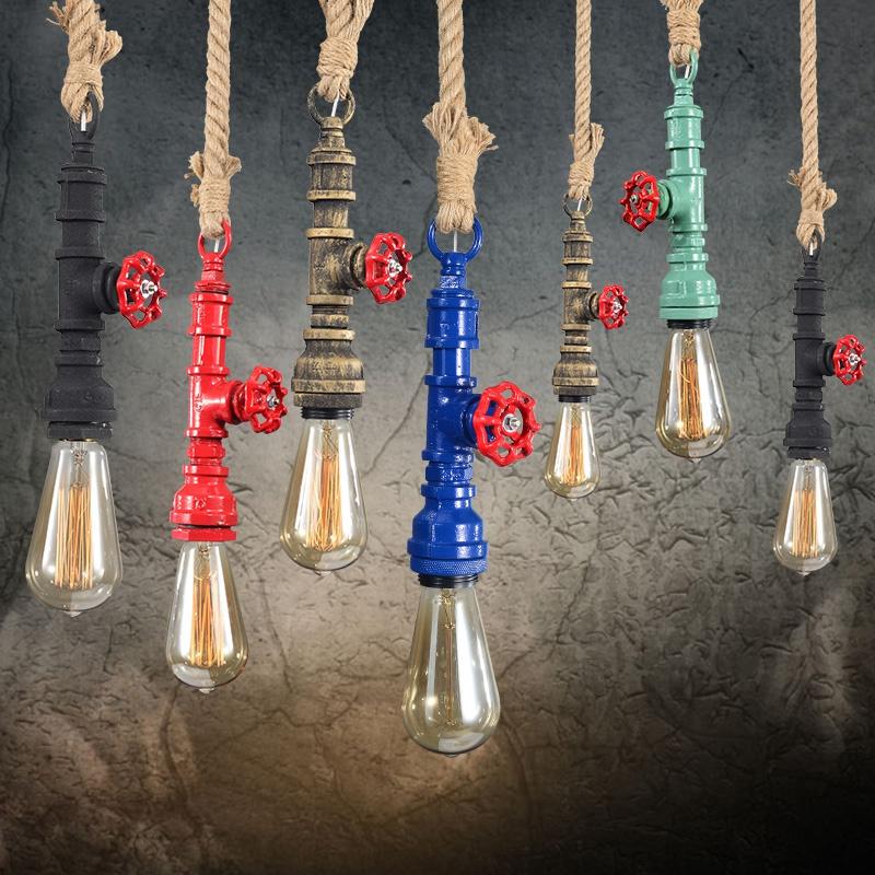 Horsten Loft Retro Industrial Vintage Steampunk Water Pipe Colorful Pendant Lamp E27 Hemp Rope Light For Bar Restaurant Dining Room (12)
