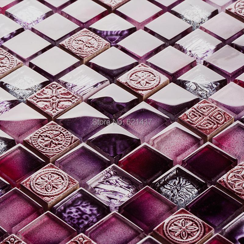 purple color glass mosaic tiles kitchen backsplash mosaic bathroom shower bedroom wall dining room backsplash<br><br>Aliexpress