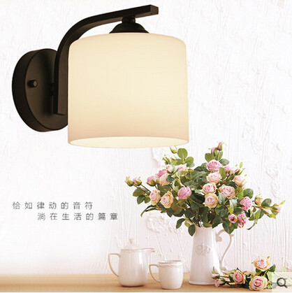 Iron American Country LED Wall Lamp Glass Lampshade Wall Light Fixtures For Home Lightings Balcony Bedside Light Home Lightings<br><br>Aliexpress