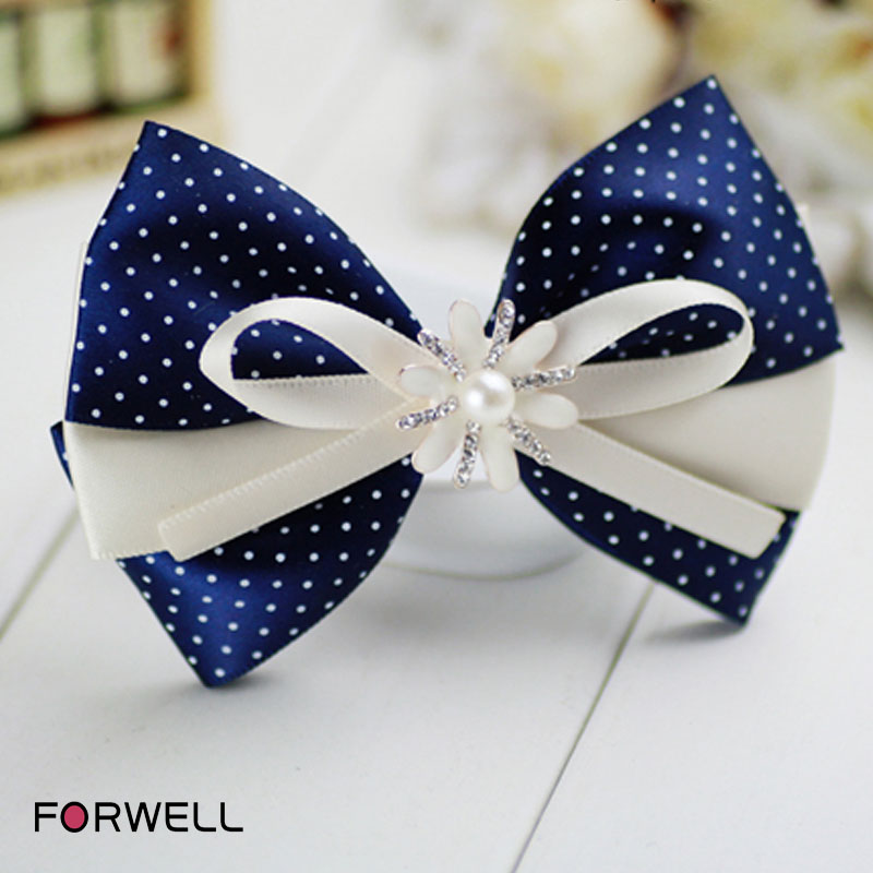 Hair accessories for women white dot printed blue bow fabric hair clip inlaid with diamond big bowknot hairpins rubber bands(China (Mainland))