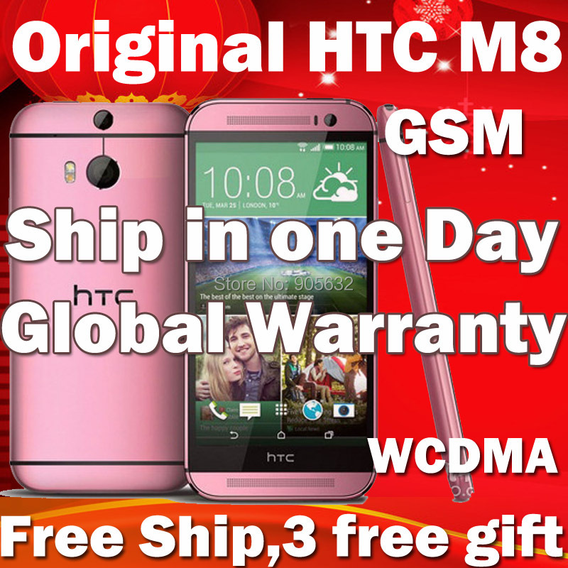 Pink Gold Original HTC One M8 32G Unlocked GSM/WCDMA/LTE Quad-core RAM 2GB Mobile Phone Smartphone 3 Cameras Phone(Hong Kong)