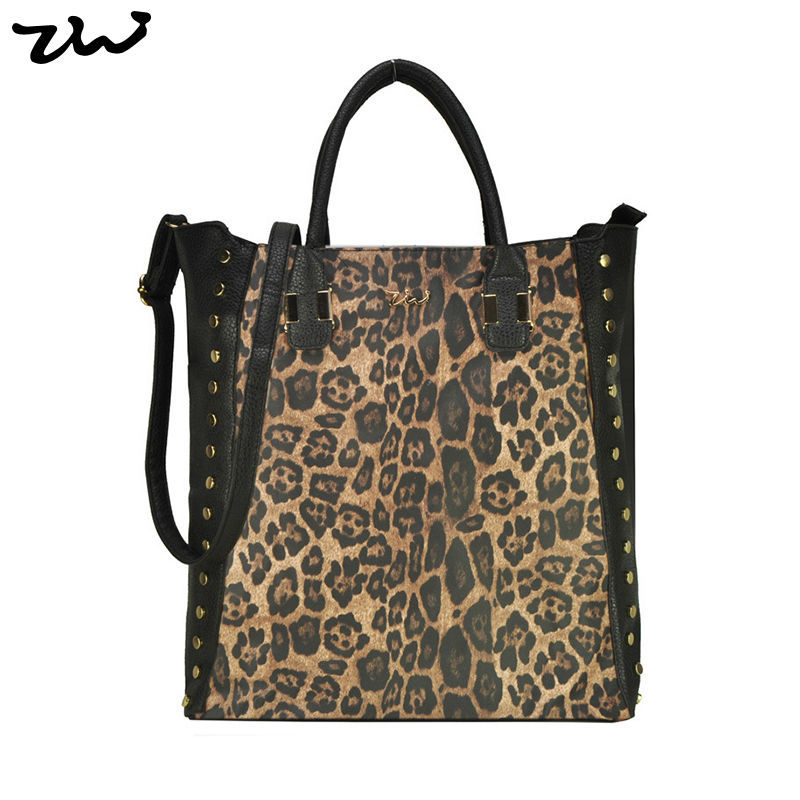 ZIWI Brand Bags 3 Color Vintage Women PU Leather Handbags Leopard Print Studded Crossbody Bags ZW141011A(China (Mainland))