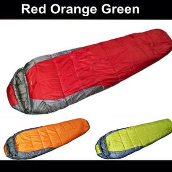 1pcs Mummy Outdoor sleeping bag spring/summer/autumn 3 season sleeping bag red,green,orange color free shipping