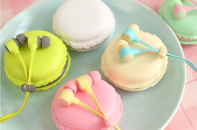 Top Quality Macarons  Earphone Headphones Microphone Stereo Bass Earbud Headset For HTC Sony etc