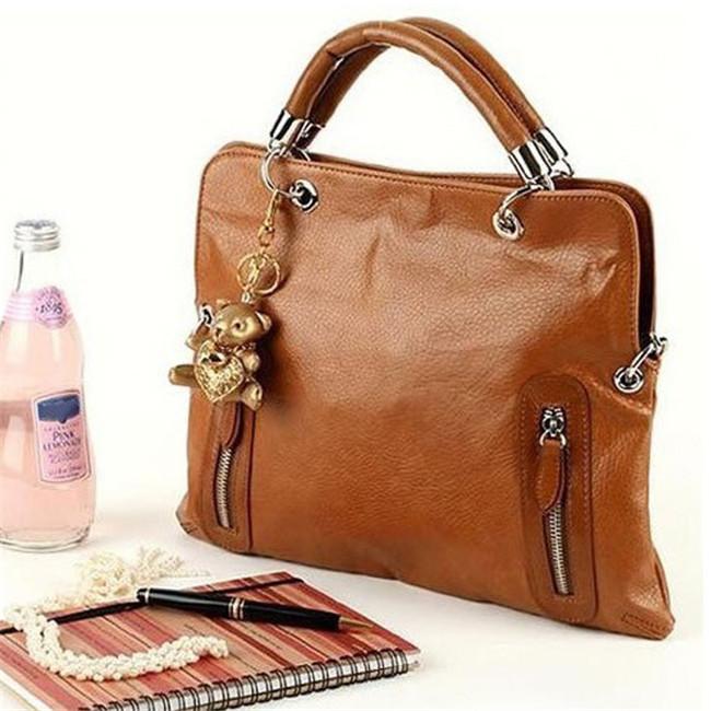 Fashion brand 2015 Women handbags Cool Retro Style Lady Large Shoulder Handbag PU Leather Tote Bag brown high quality(China (Mainland))