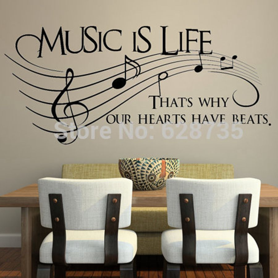 Music is life.. That's why our hearts have beats - Vinyl Wall Decal Sticker Music , musical wall art decoration free shipping(China (Mainland))